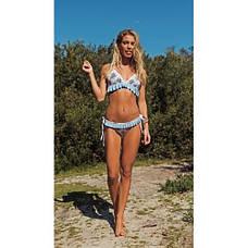 Купальник раздельный бикини мягкая чашка с вкладышем плавки бразилиана голубой с воланом-135-50, фото 3