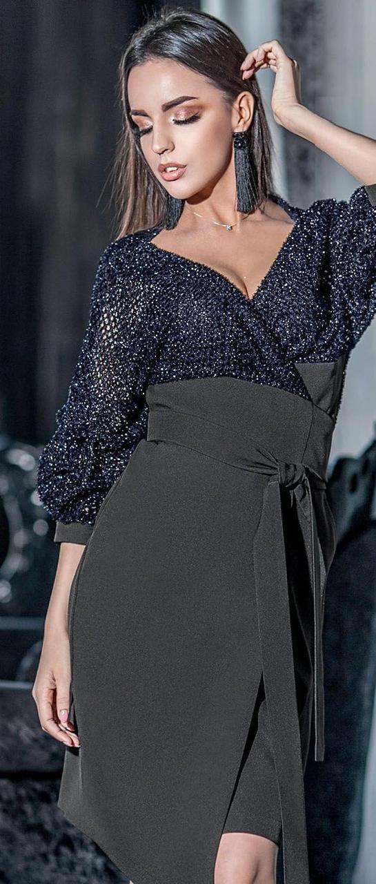 3e314a655aec073 Изысканное платье с юбкой на запах 42-48 р Ванесса, женские нарядные платья  оптом