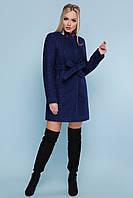 Красивое короткое женское демисезонное пальто с поясом без воротника и капюшона П-337, цвет 1227-темно-синий