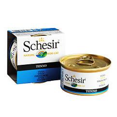 Schesir Tuna  влажный корм тунец в желе, банка 85 г
