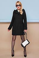 Стильное демисезонное женское короткое пальто с карманами широким капюшоном П-3к черное