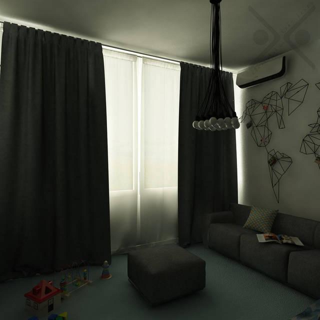 Минимализм в помещении царит и в зоне отдыха. Здесь присутствуют основные цвета интерьера: белый и серый. Голубой ковролин и цветной текстиль являются яркими акцентами.