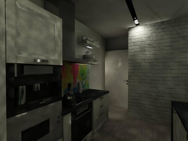 Скинали с принтом разлитых красок является солирующим элементом кухонной зоны.