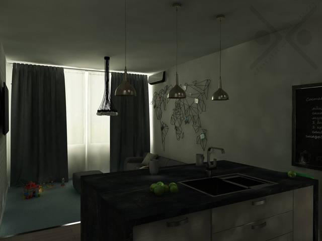 Планировка кухни-острова позволяет сэкономить время на перемещениях по комнате. Мойка расположена так, что у хозяйки все находится под рукой.