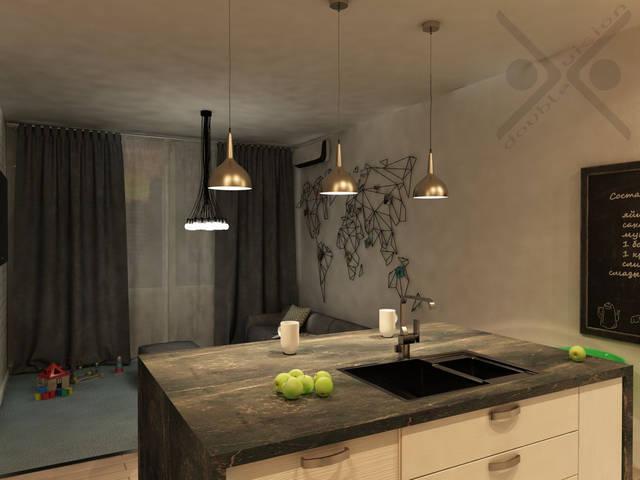 Столешня рабочей поверхности, выполненная из черного мрамора, увеличена и выполняет роль обеденного стола или барной стойки.