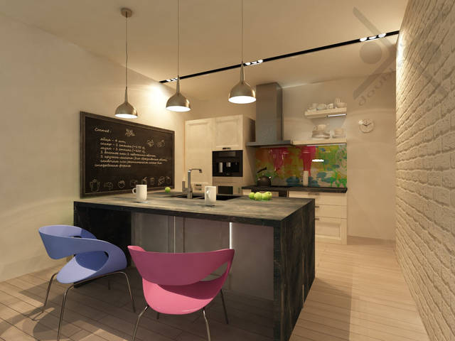 Разделение зон многоуровневое. Кузонная зона приподнята над зоной отдыха на 120 мм. Стулья с металлическим каркасом и цветными пластиковыми сиденьями идеально дополняют интерьер в стиле минимализм.