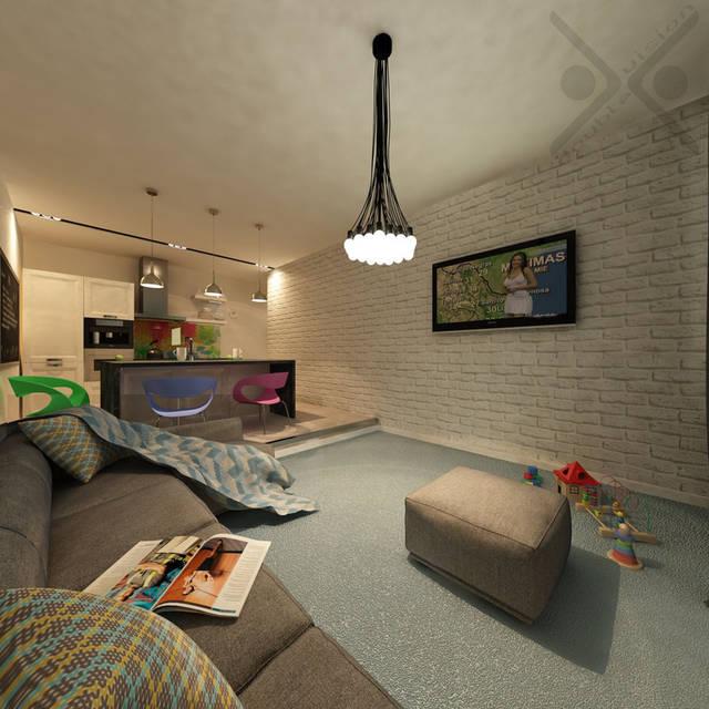 Грамотно подобранный текстиль отлично вписался в минималистичное пространство помещения, создавая необходимый уют и тепло семейного очага.