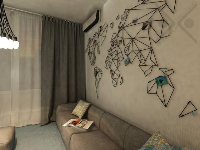 Солирующим стильным декоративным элементом в гостиной зоне является схематическая карта мира, выполненная на заказ из металлических прутьев.