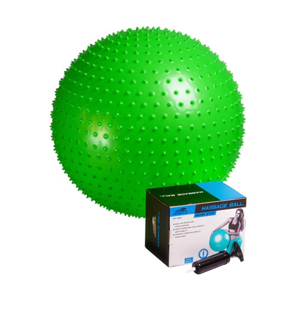Мяч-масажер для фитнеса и гимнастики PowerPlay 4002 65см салатовый + насос