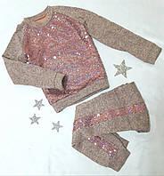 Модный прогулочный костюм для девочки, ангора, ПАЙЕТКИ, размер 128-146, розовый