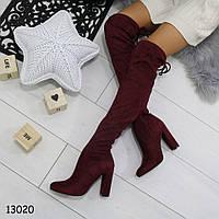 Женские демисезонные сапоги ботфорты на удобном каблуке бордовые, фото 1