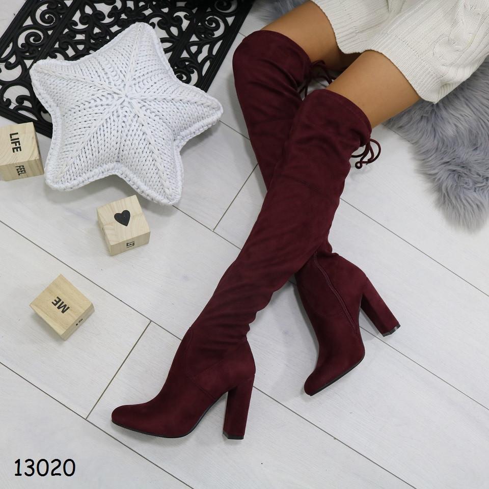 Женские демисезонные сапоги ботфорты на удобном каблуке бордовые