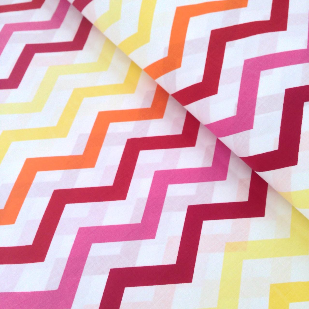 Хлопковая ткань польская зигзаг желто-красный отрез (размер 0,65*1,6 м)
