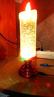 Лава лампа Светильник торнадо новогодняя свеча с блестками S-900 золотая
