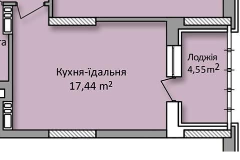 План до перепланировки от застройщика ЖК «Министерский», расположенный в Оболонском районе г. Киева. В ходе работы над проектом помещения кухни-столовой и лоджии были объединены.
