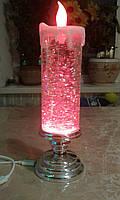 Лава лампа Светильник торнадо новогодняя свеча с блестками S-900 красная
