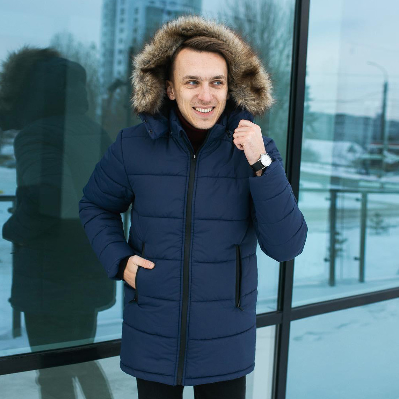 Зимняя куртка парка мужская синяя размер S, M, L, XL