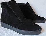 Lapti стиль! Зимние угги слипоны на меху натуральная замша черного цвета унисекс, фото 3