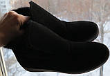 Lapti стиль! Зимние угги слипоны на меху натуральная замша черного цвета унисекс, фото 9