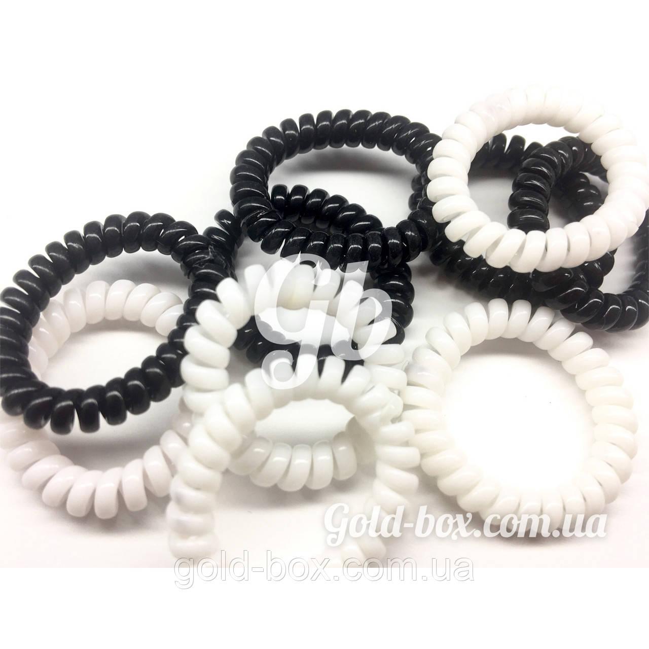Резинки «бейби Спиральки» бело-чёрные 10шт