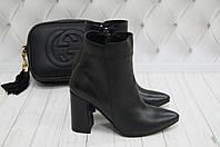 Ботинки демисезонные кожаные на каблуке Loyana черные, фото 1