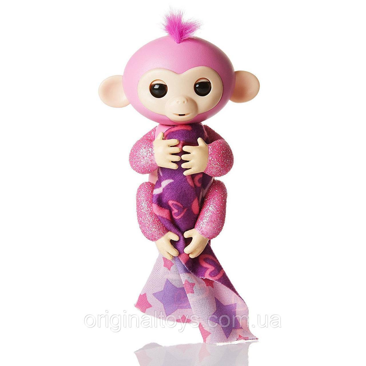 Интерактивная ручная блестящая обезьянка Fingerlings Роза с аксессуаром WowWee