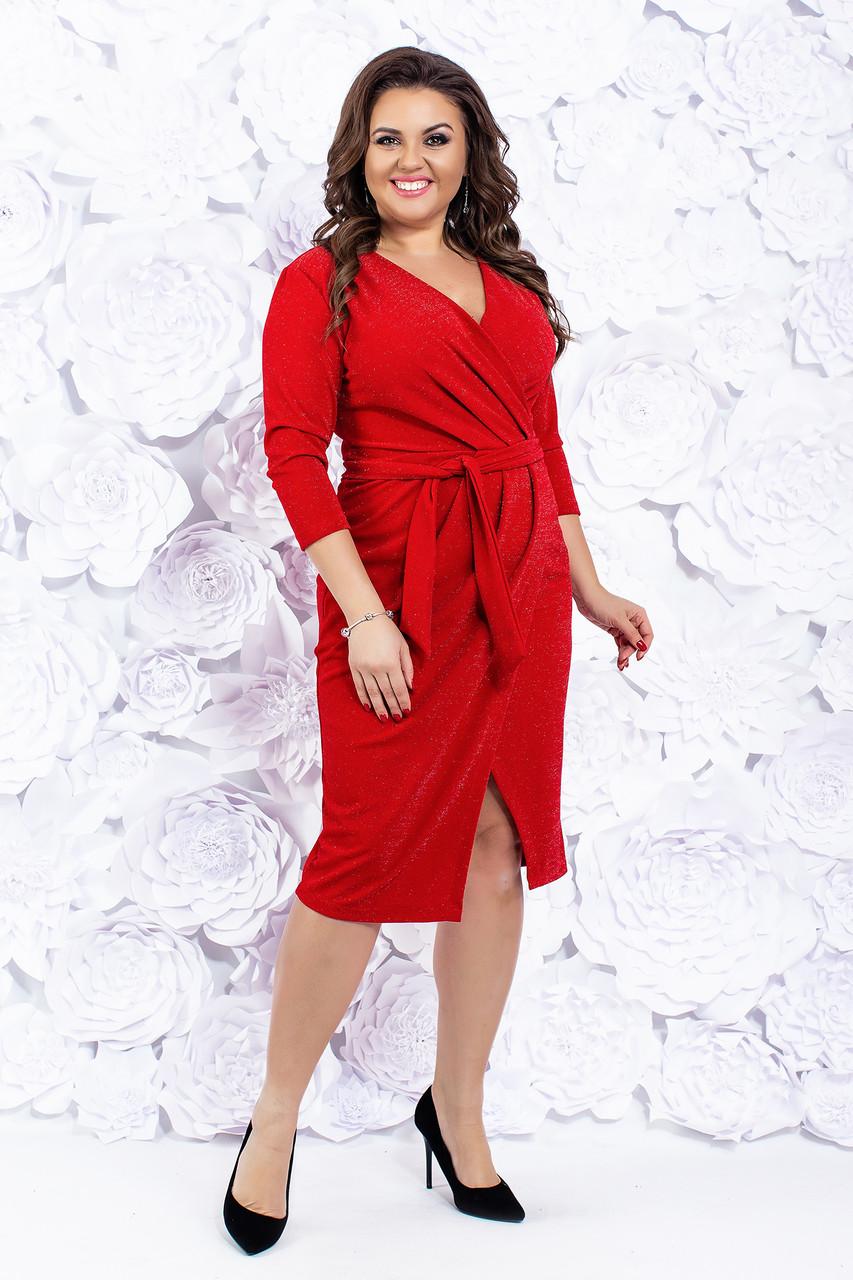 Нарядное платье с запахом 50-56 р ( красный, синий, черный )