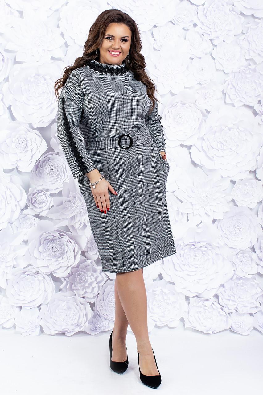 Теплое женское платье с поясом 52-54 р