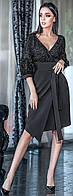 Модное женское платье средней длины черного цвета 42-48 р Ванесса, женские платья оптом от производителя