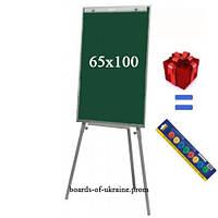 Флипчарт школьный магнитно-меловой на треноге 65х100 см + подарок