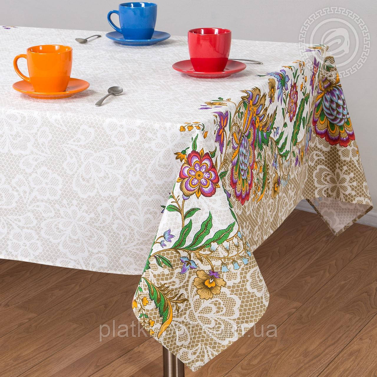 "Скатерть льняная  ""Барокко"" 1.8м х 1.5м (средний стол)"