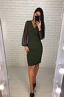 Женское модное платье с рукавами сетка  (расцветки), фото 1