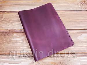 Обкладинка для блокнова А5 з натуральної шкіри ручної роботи колір фіолетовий