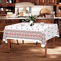 "Скатерть льняная  ""Белый орнамент"" 1.8м х 1.5м (средний стол), фото 1"