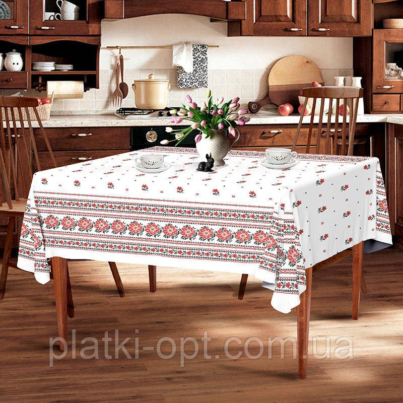 """Скатерть льняная  """"Белый орнамент"""" 2.2м х 1.5м (раскладной стол)"""