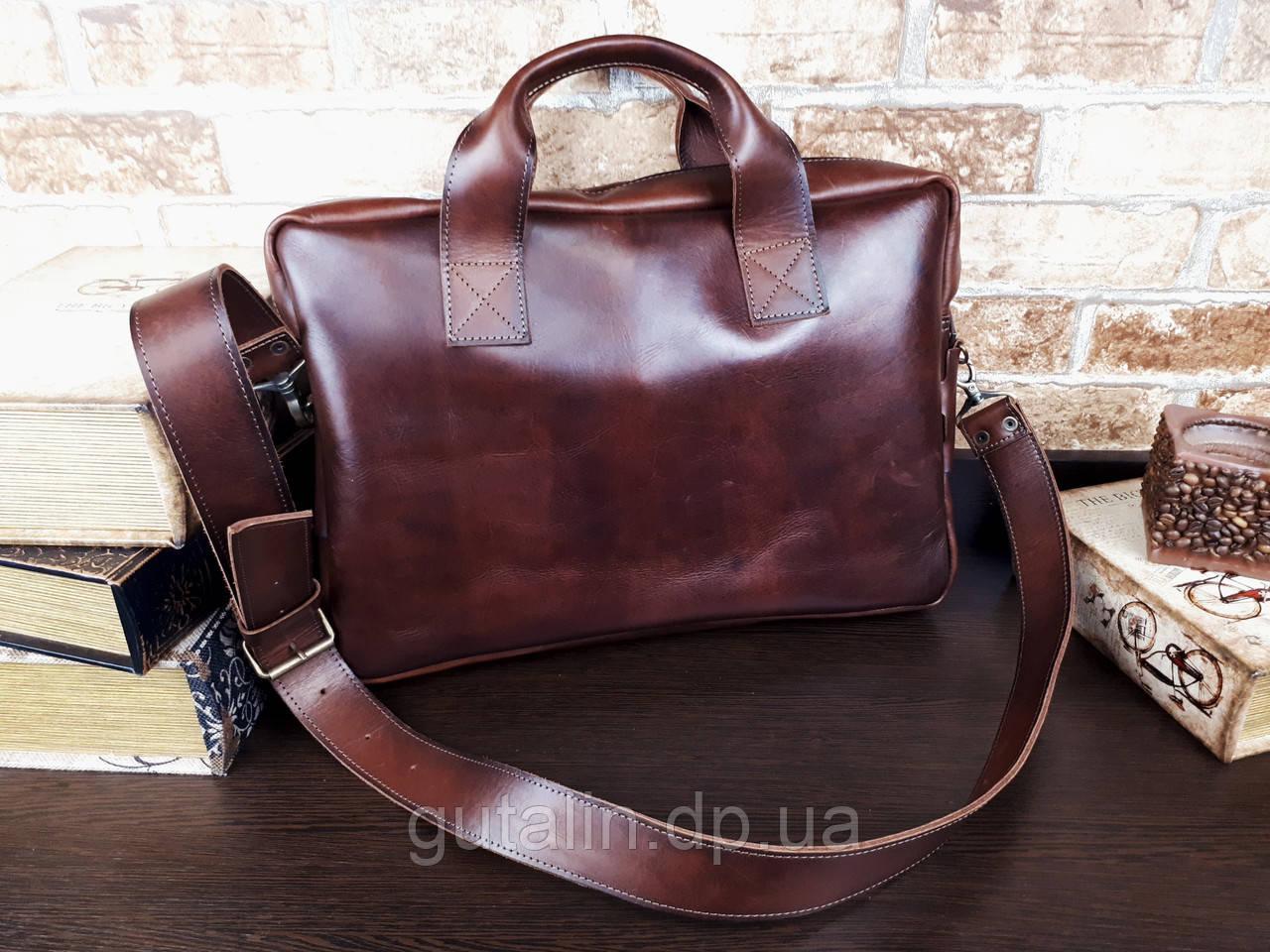 Мужская сумка ручной работы из натуральной кожи Офисная Италия цвет коричневый