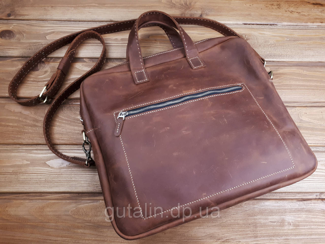 Мужская сумка ручной работы из натуральной кожи Офисная цвет коньяк