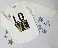 Свитер детский на девочку LOVE, трикотаж вязка, пайетка, размер 3-9 лет, молочный