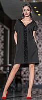 Платье оверсайз асимметричное черного цвета 42-50 р Кристи, женские платья оптом от производителя