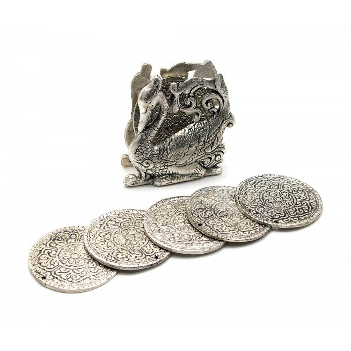 Подстаканник круглый из металла Лебедь набор 6 шт