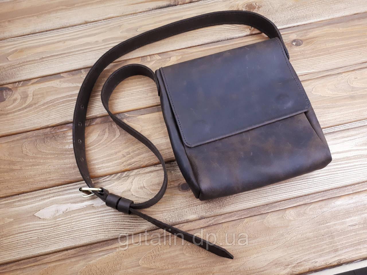 Мужская сумка ручной работы из натуральной кожи Планшетка цвет коньяк