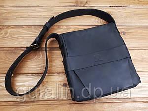 Мужская сумка ручной работы из натуральной кожи Планшетка цвет черный