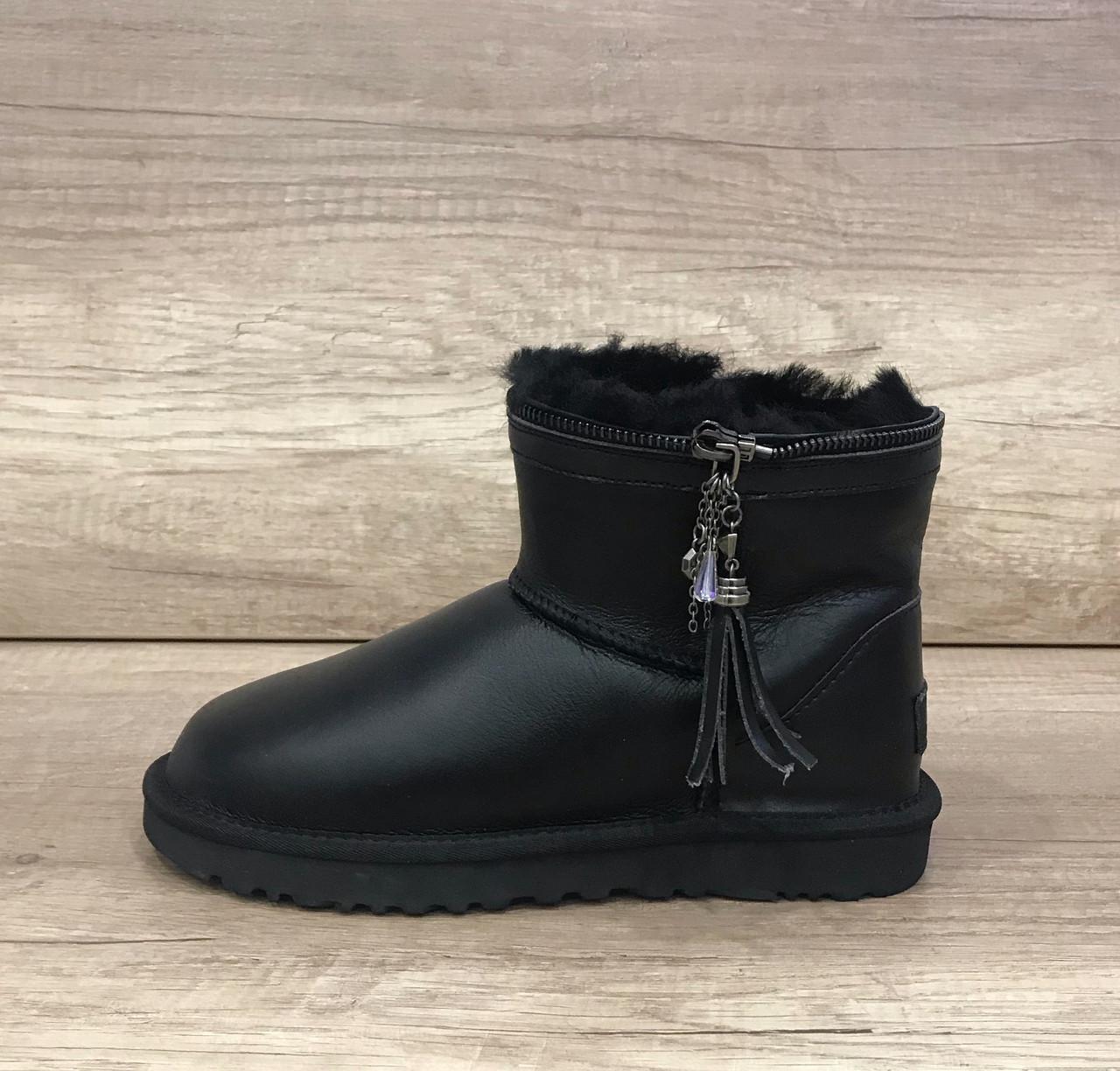 Черные кожаные угги мини с разделяющей молнией UGG Zipper Black Leather