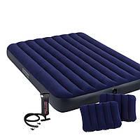 Надувной матрас Intex 64765, 152 х 203 х 25 см, с двумя подушками, ручным насосом