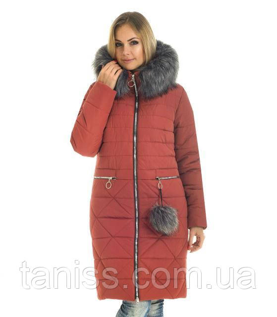Зимовий, молодіжний пуховик з капюшоном, хутро мистецтв.чорнобурка, розміри з 42 по 56,теракот(52)