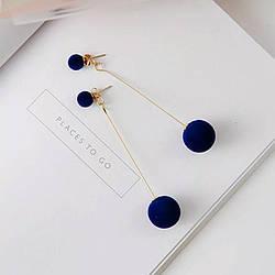 Серьги сережки элегантные двойной шар синие синий цвет жемчужные длинные болтаются матовые