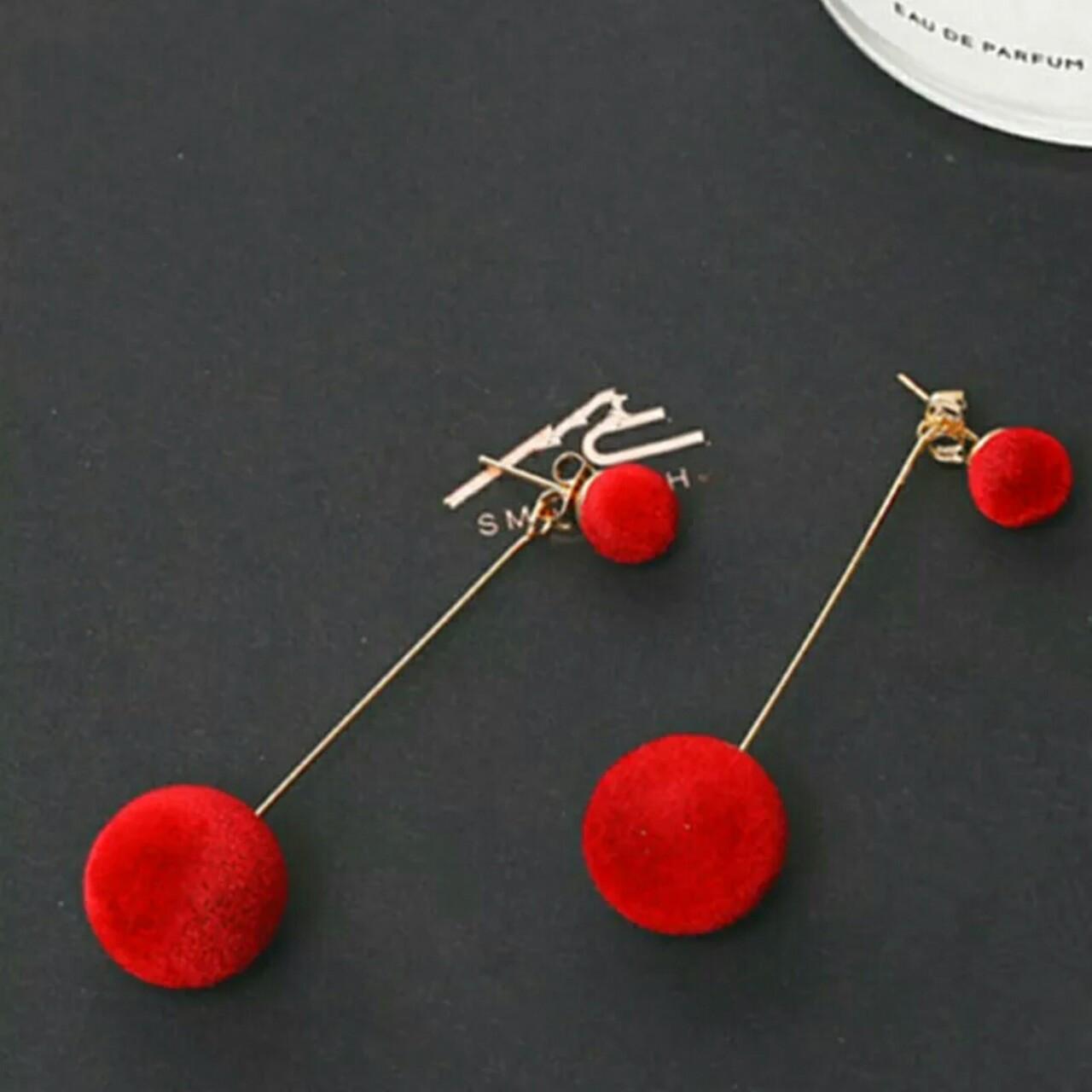 Серьги сережки элегантные двойной шар красные красный цвет жемчужные длинные болтаются матовые