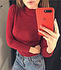Гольф жіночий трикотаж рубчик+ангора ( сірий, коричневий, бордовий, фото 3