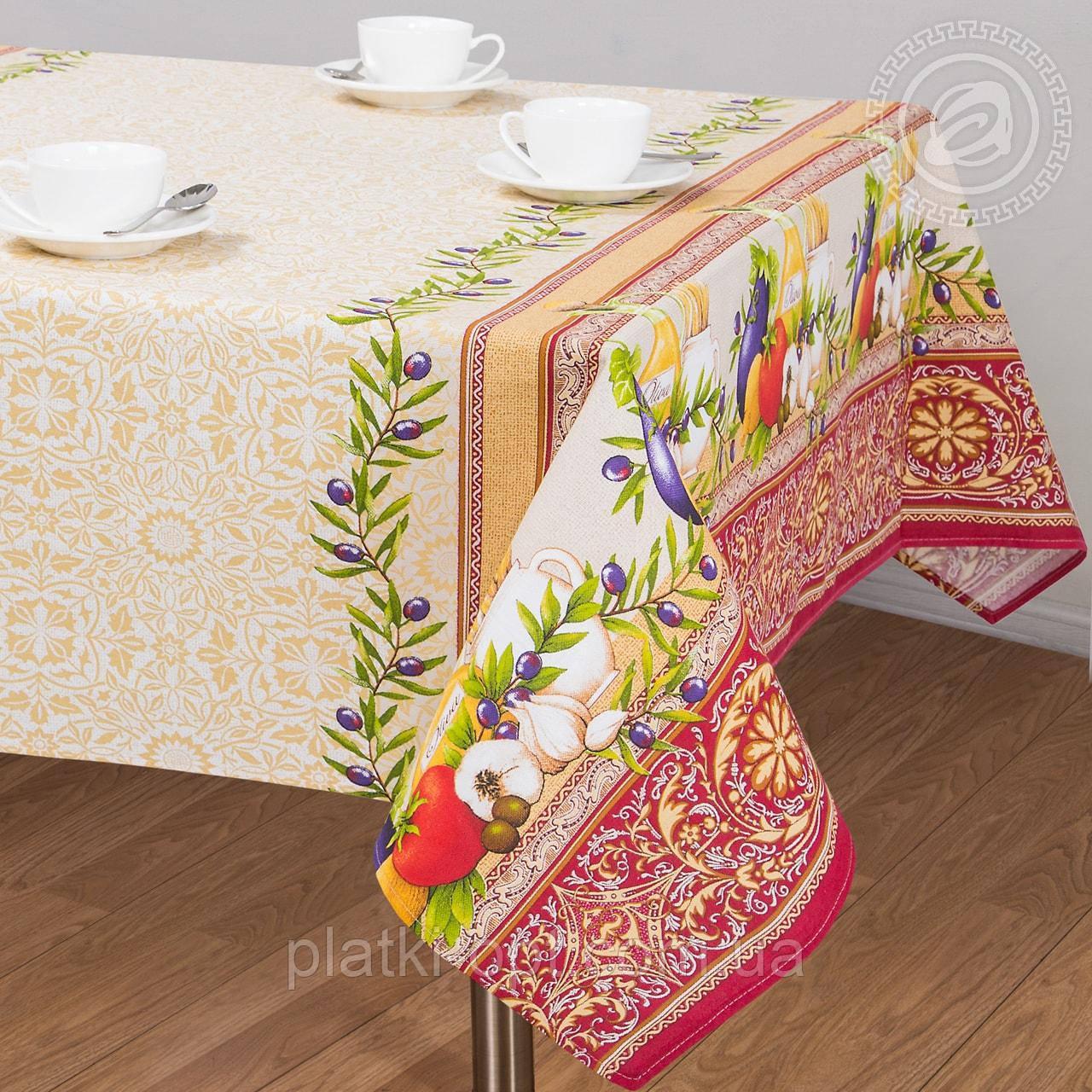 """Скатерть льняная  """"Изобилие"""" 1.8м х 1.5м (средний стол)"""