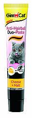 Паста для выведения шерсти Gimcat Anti-Hairball Duo Paste Cheese & Malt для кошек с сыром, 50 г